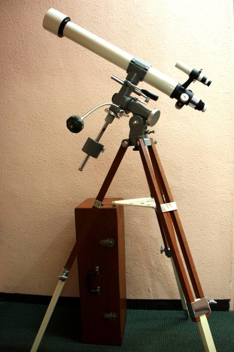 タカハシ(高橋製作所)65㎜ 屈折望遠鏡 V-1 型 赤道儀 三脚等一式 木箱入り_画像7