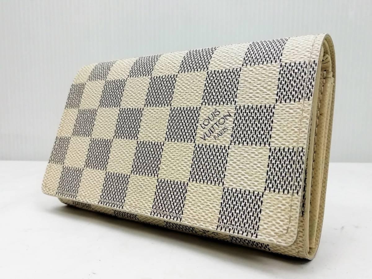 美品!ルイヴィトン Louis Vuitton ダミエ アズール ポルトモネ ビエ トレゾール 二つ折り財布 レディース N61744_画像2