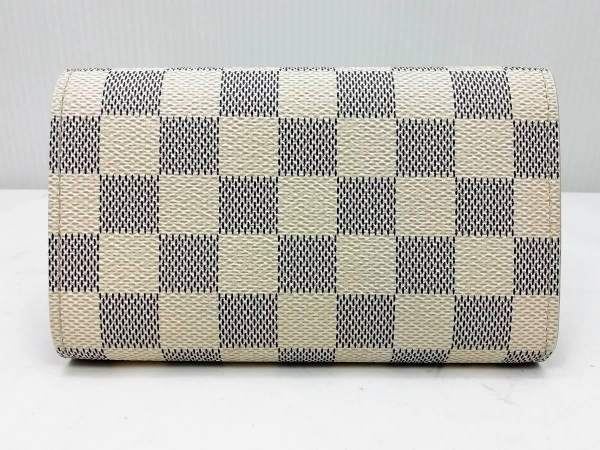 美品!ルイヴィトン Louis Vuitton ダミエ アズール ポルトモネ ビエ トレゾール 二つ折り財布 レディース N61744_画像3