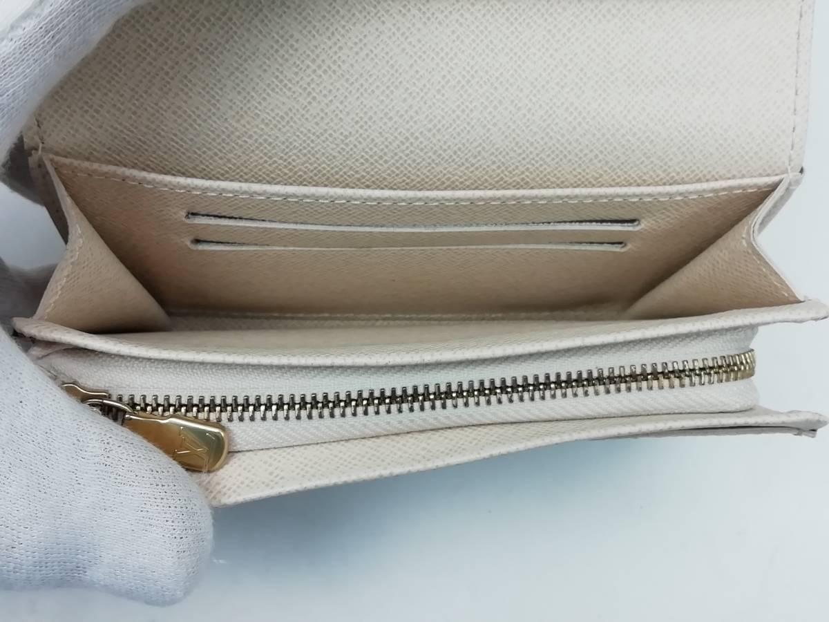 美品!ルイヴィトン Louis Vuitton ダミエ アズール ポルトモネ ビエ トレゾール 二つ折り財布 レディース N61744_画像4