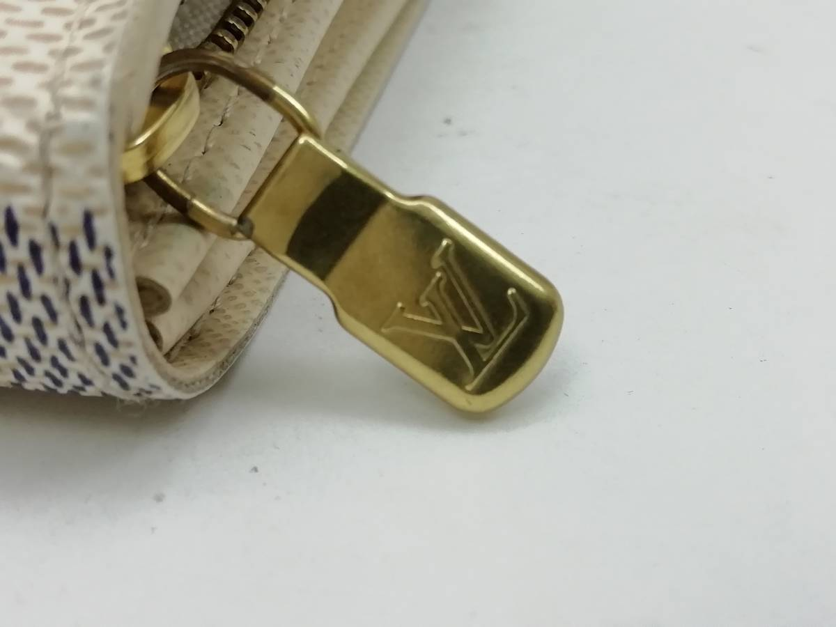 美品!ルイヴィトン Louis Vuitton ダミエ アズール ポルトモネ ビエ トレゾール 二つ折り財布 レディース N61744_画像6