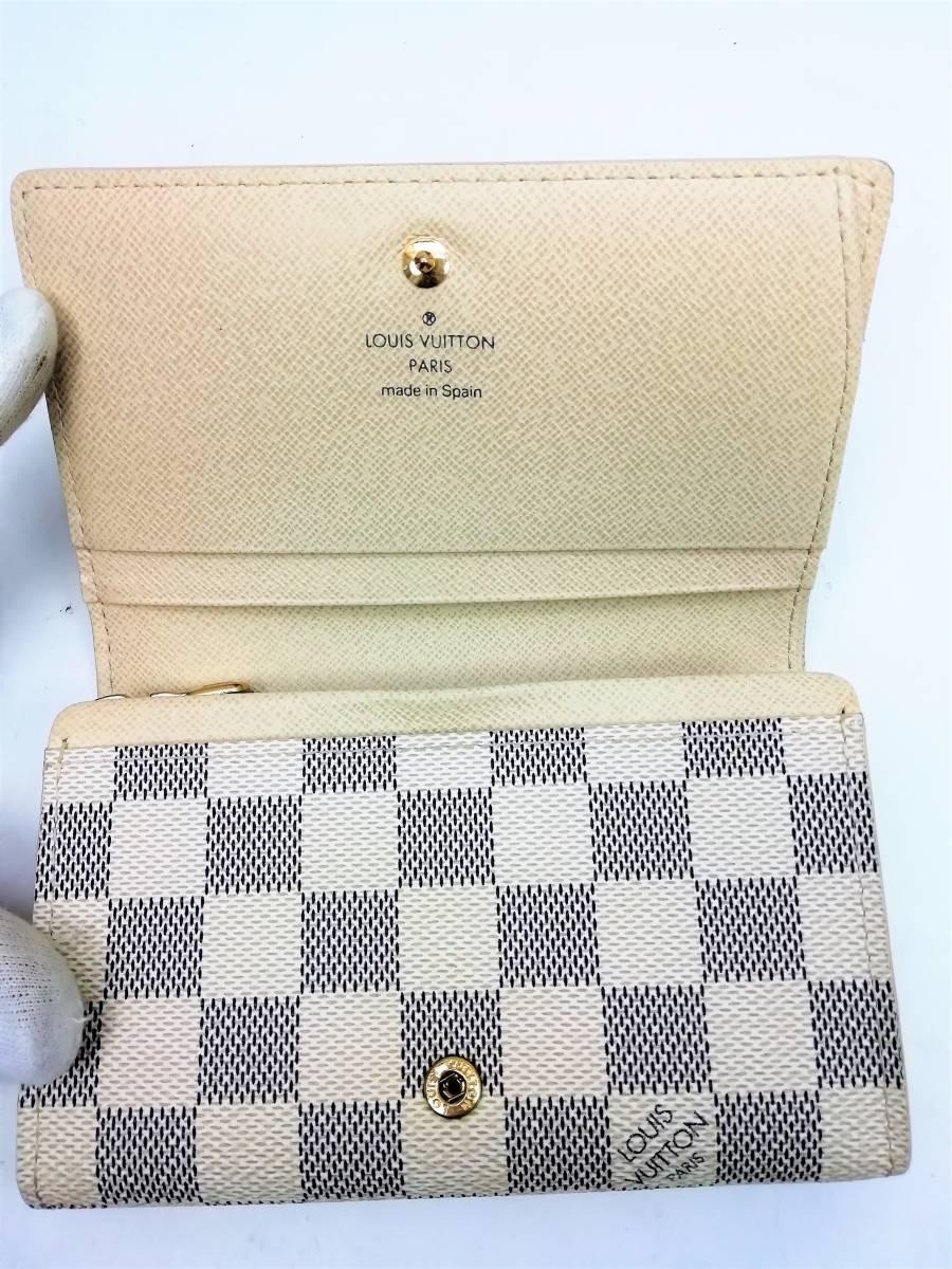 美品!ルイヴィトン Louis Vuitton ダミエ アズール ポルトモネ ビエ トレゾール 二つ折り財布 レディース N61744_画像7