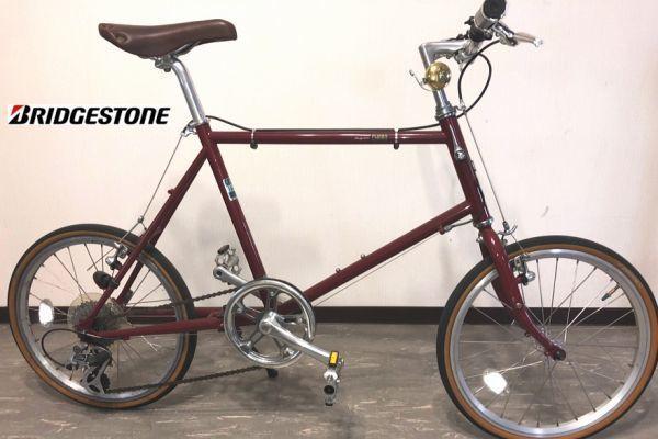■J014■定価6万 美品 ブリヂストン Bridgestone CHeRo クエロ 20F えんじ 20インチ 8速 ミニベロ 中古 自転車 #おしゃれ自転車