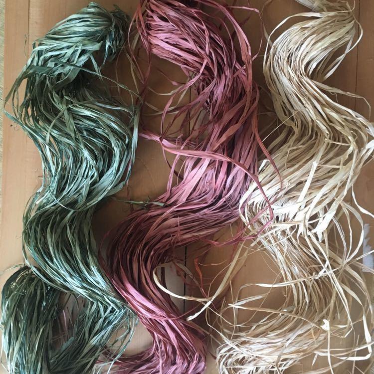 ラフィアファイバー カラーラフィア ナチュラル グリーン エンジ 約150g 3色まとめて_画像2