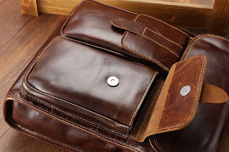 メンズ 本革 レザー ショルダーバッグ 斜め掛けバッグ iPad対応 鞄 機能的収納豊富 メッセンジャーバッグ 多機能 斜めがけ ブラウン_画像2