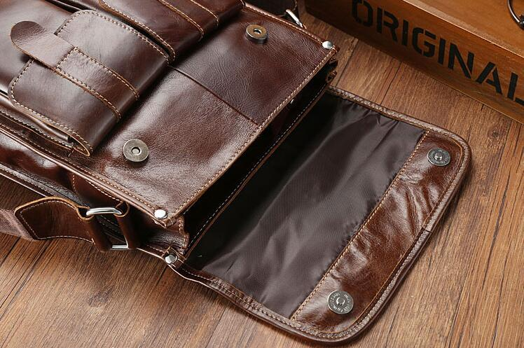 メンズ 本革 レザー ショルダーバッグ 斜め掛けバッグ iPad対応 鞄 機能的収納豊富 メッセンジャーバッグ 多機能 斜めがけ ブラウン_画像6