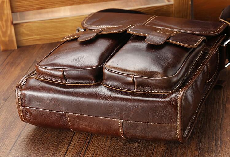 メンズ 本革 レザー ショルダーバッグ 斜め掛けバッグ iPad対応 鞄 機能的収納豊富 メッセンジャーバッグ 多機能 斜めがけ ブラウン_画像4