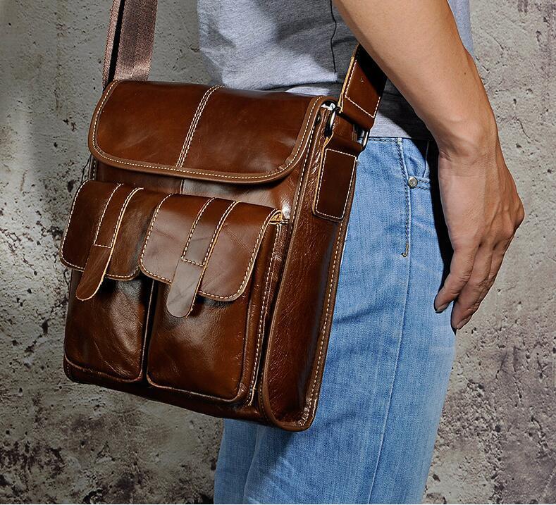 メンズ 本革 レザー ショルダーバッグ 斜め掛けバッグ iPad対応 鞄 機能的収納豊富 メッセンジャーバッグ 多機能 斜めがけ ブラウン_画像5