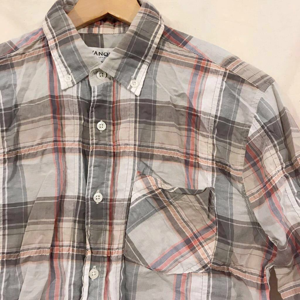 VANQUISH ヴァンキッシュ B.D.半袖シャツ 5分袖 サイズ M チェック_画像1
