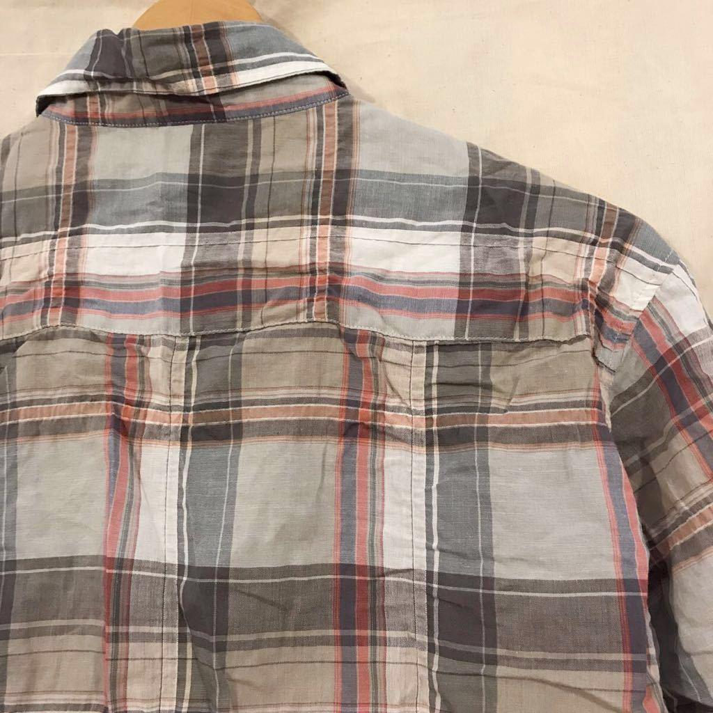 VANQUISH ヴァンキッシュ B.D.半袖シャツ 5分袖 サイズ M チェック_画像5