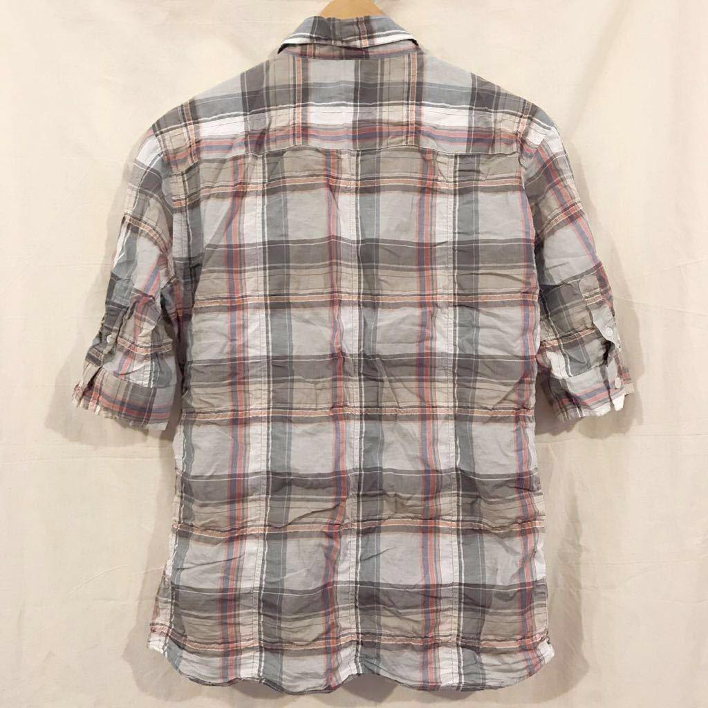 VANQUISH ヴァンキッシュ B.D.半袖シャツ 5分袖 サイズ M チェック_画像3