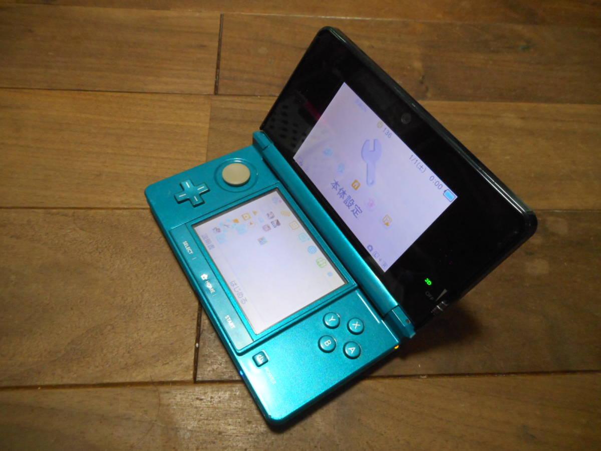 ⑩【送料無料】完動品3DS本体アクアブルーVer11.6.0-39J【動作確認済み1円スタート】