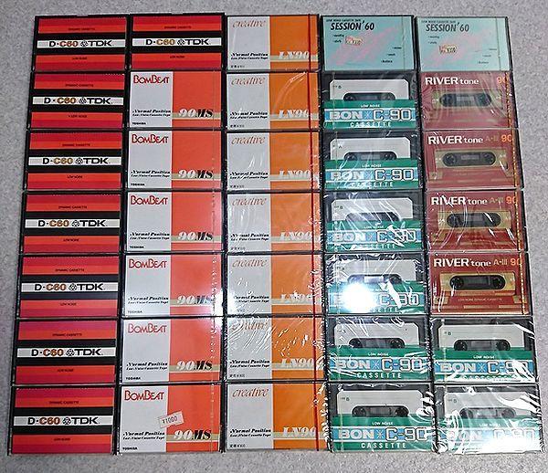 未開封27点 中古8点 カセットテープ 東芝BOMBEAT 90MS CREATIVE LN90 TDK D-C60 BON C-90 RIVERtone A-III 90 SESSION'60