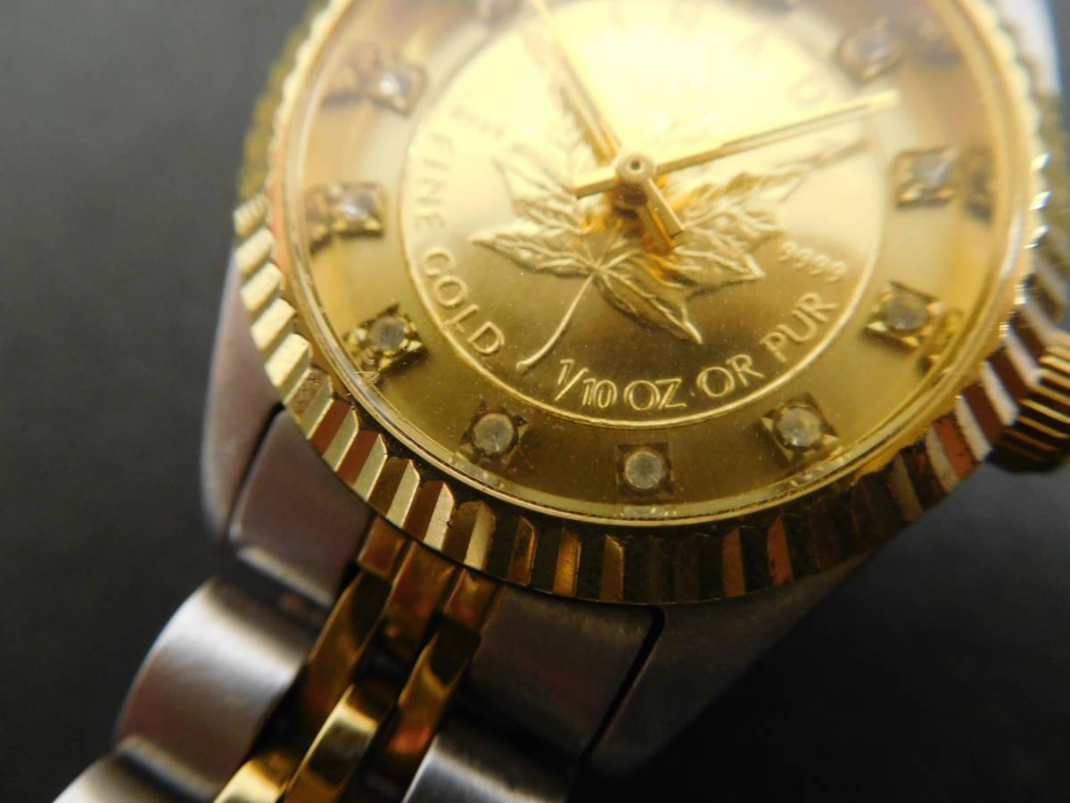 RODANIA ロダニア カナダ メイプルリーフ 金貨 腕時計 10/1OZ FINE GOLD コンビカラー 5:14ABC1.0_画像2