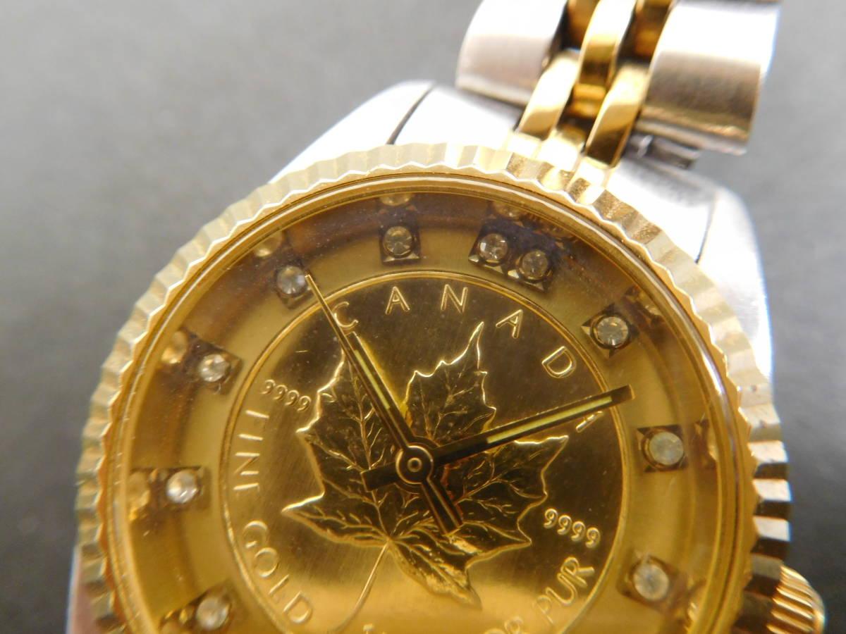 RODANIA ロダニア カナダ メイプルリーフ 金貨 腕時計 10/1OZ FINE GOLD コンビカラー 5:14ABC1.0_画像3