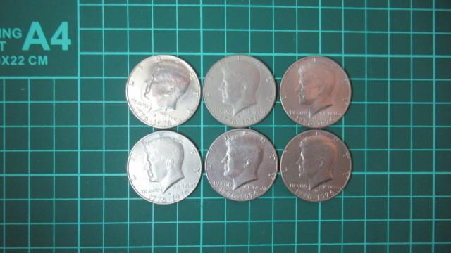 ☆アメリカ 1776年ー1976年 ケネディハーフダラー 建国200周年記念貨幣コイン 6枚