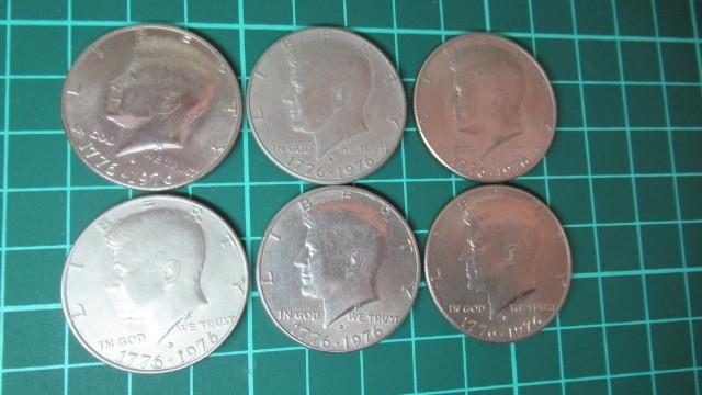 ☆アメリカ 1776年ー1976年 ケネディハーフダラー 建国200周年記念貨幣コイン 6枚 _画像2