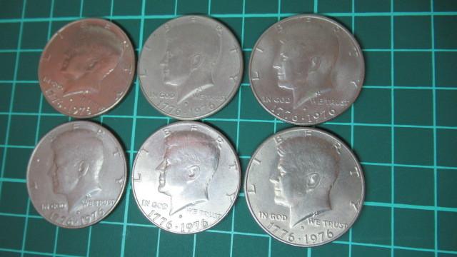 ☆アメリカ 1776年ー1976年 ケネディハーフダラー 建国200周年記念貨幣コイン 6枚 _画像3