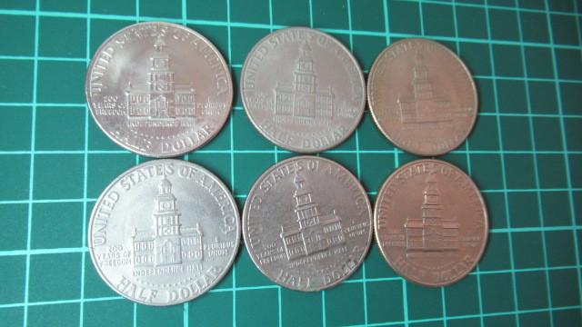 ☆アメリカ 1776年ー1976年 ケネディハーフダラー 建国200周年記念貨幣コイン 6枚 _画像5