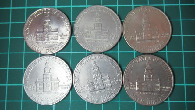 ☆アメリカ 1776年ー1976年 ケネディハーフダラー 建国200周年記念貨幣コイン 6枚 _画像6
