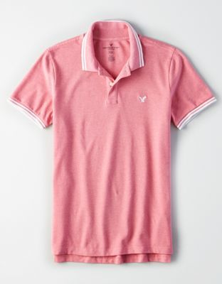 132bcc14 AE アメリカンイーグル AE Solid Pique Flex Polo 鹿の子 ポロシャツ L / Pink *_