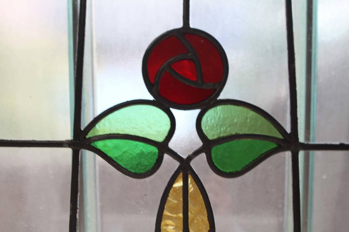 ステンドグラス 英国アンティーク 12S-272 バラ柄 クリアガラス 窓 ドア インテリア 送料無料_画像2
