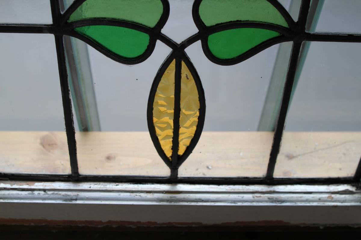 ステンドグラス 英国アンティーク 12S-272 バラ柄 クリアガラス 窓 ドア インテリア 送料無料_画像3