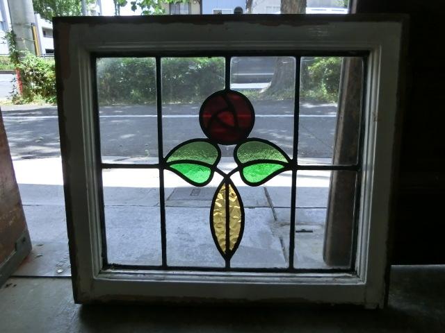 ステンドグラス 英国アンティーク 12S-272 バラ柄 クリアガラス 窓 ドア インテリア 送料無料_画像4