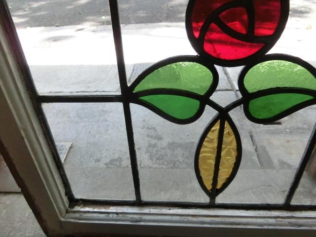 ステンドグラス 英国アンティーク 12S-272 バラ柄 クリアガラス 窓 ドア インテリア 送料無料_画像5