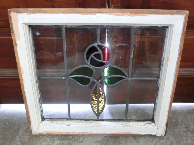 ステンドグラス 英国アンティーク 12S-272 バラ柄 クリアガラス 窓 ドア インテリア 送料無料_画像6