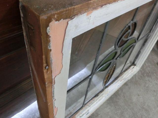 ステンドグラス 英国アンティーク 12S-272 バラ柄 クリアガラス 窓 ドア インテリア 送料無料_画像7
