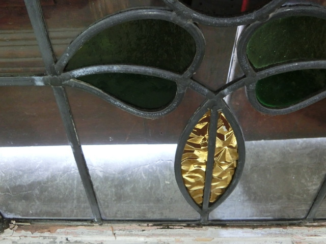 ステンドグラス 英国アンティーク 12S-272 バラ柄 クリアガラス 窓 ドア インテリア 送料無料_画像8