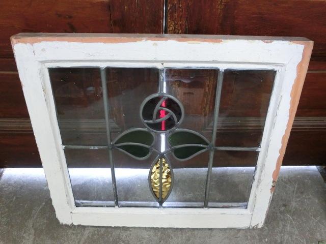 ステンドグラス 英国アンティーク 12S-272 バラ柄 クリアガラス 窓 ドア インテリア 送料無料_画像9