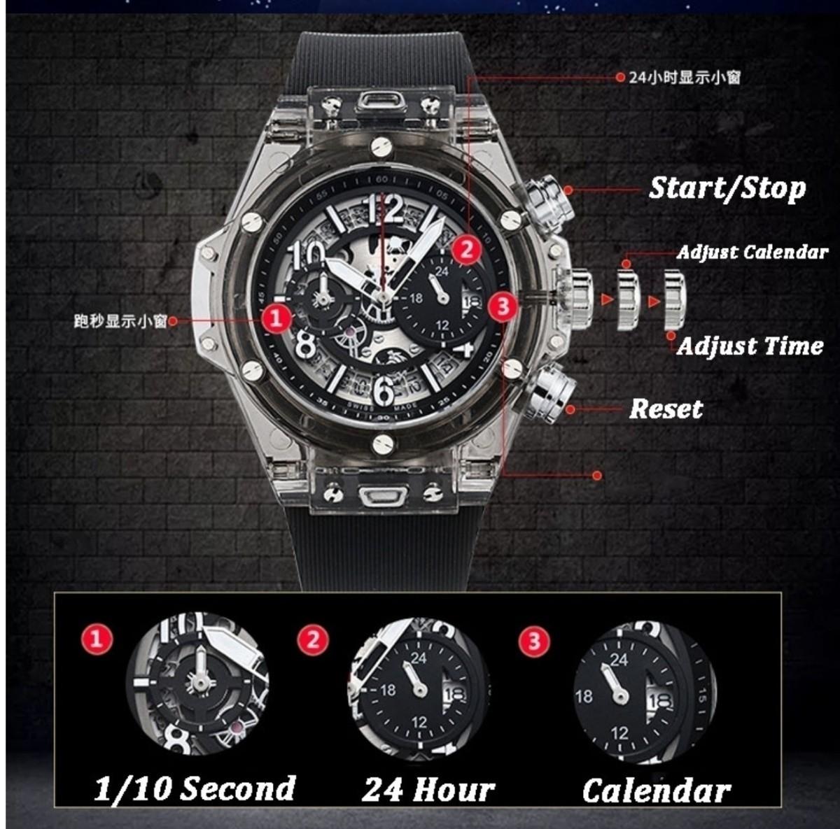 【送料無料】1~2日で到着!! KIMSDUN 正規品 ラバーバンド スケルトンウォッチ メンズ クォーツ 高級腕時計 オマージュウォッチ noob JF_画像5