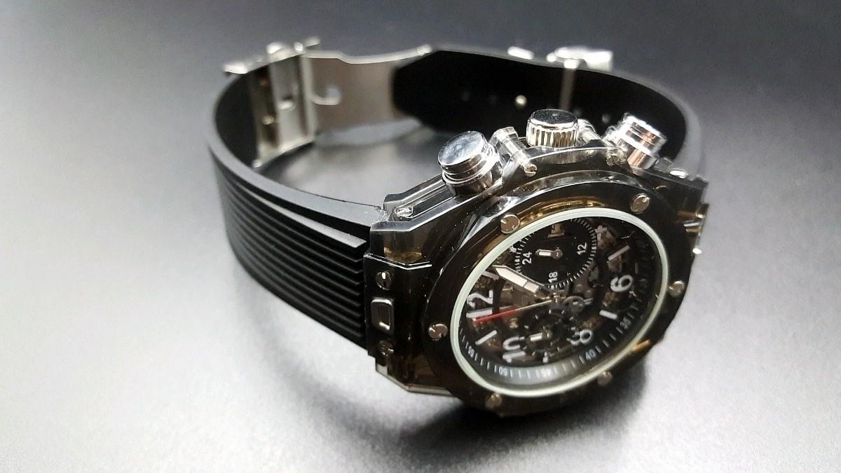 【送料無料】1~2日で到着!! KIMSDUN 正規品 ラバーバンド スケルトンウォッチ メンズ クォーツ 高級腕時計 オマージュウォッチ noob JF_画像3