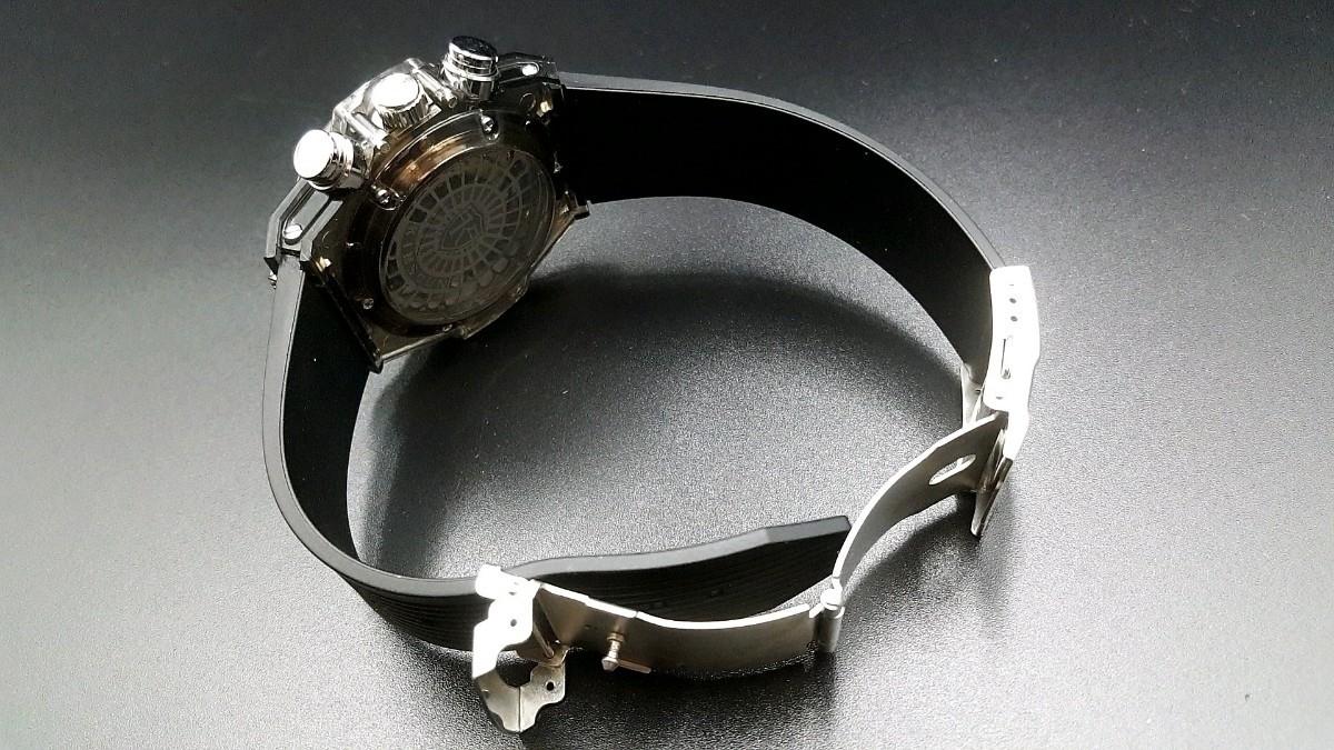 【送料無料】1~2日で到着!! KIMSDUN 正規品 ラバーバンド スケルトンウォッチ メンズ クォーツ 高級腕時計 オマージュウォッチ noob JF_画像4