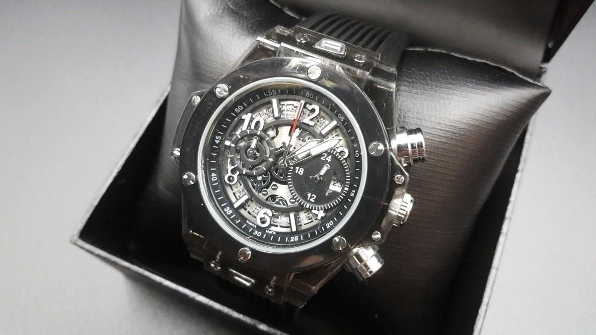 【送料無料】1~2日で到着!! KIMSDUN 正規品 ラバーバンド スケルトンウォッチ メンズ クォーツ 高級腕時計 オマージュウォッチ noob JF_画像2