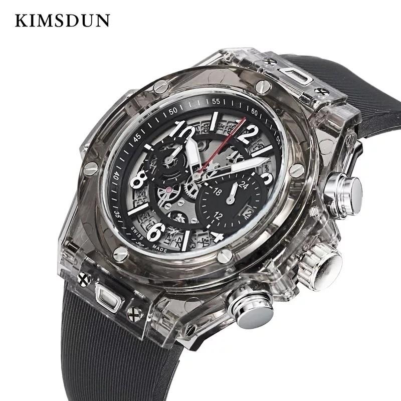 【送料無料】1~2日で到着!! KIMSDUN 正規品 ラバーバンド スケルトンウォッチ メンズ クォーツ 高級腕時計 オマージュウォッチ noob JF_画像1