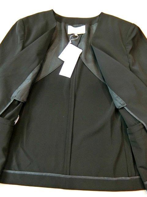 ■自由区大きいサイズ44 NOIE2WAYストレッチノーカラーVジャケット黒■_画像4