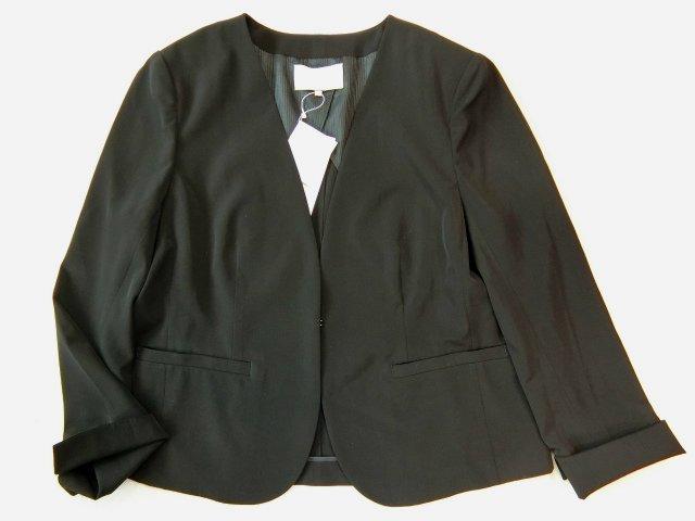 ■自由区大きいサイズ44 NOIE2WAYストレッチノーカラーVジャケット黒■