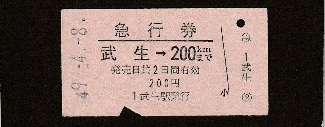 ◆急行券◆武生→200㎞まで◆
