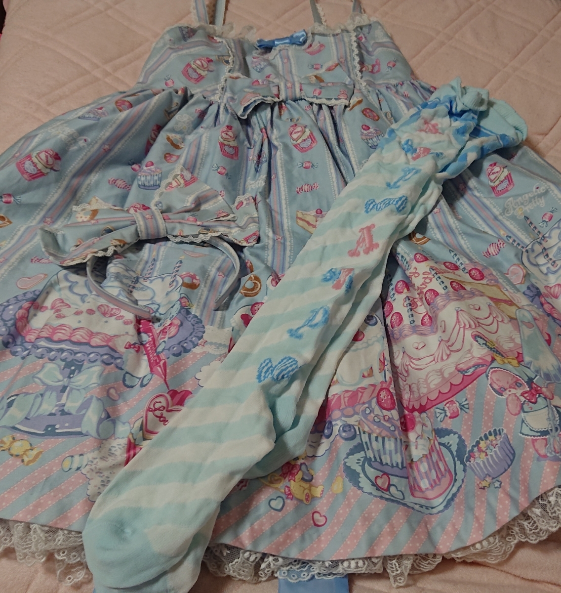 Angelic Pretty アンジェリックプリティ 2016年福袋 Whip Factory ジャンパースカートset サックス 開封済み未使用品 欠品あり