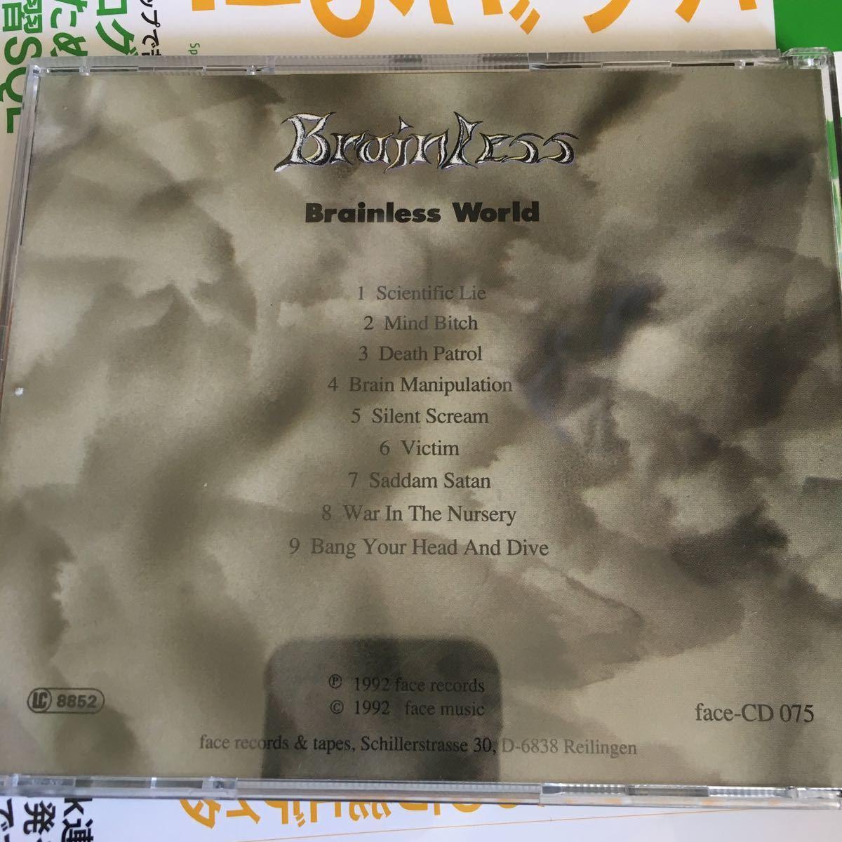 Brainless - Brainless World ('92) スラッシュ オリジナル FACE-MUSIC 激レア_画像3