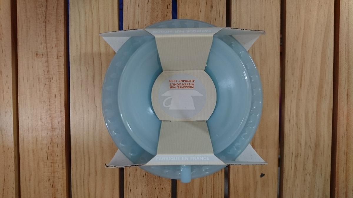 【未使用品】ミスタードーナツ カップ ソーサー 3客セット オパールブルーコレクション アルクフランス アルコパル ミルクガラス風_画像4