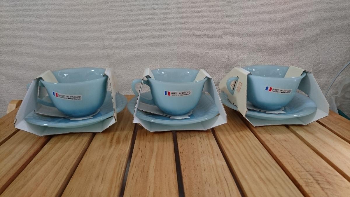 【未使用品】ミスタードーナツ カップ ソーサー 3客セット オパールブルーコレクション アルクフランス アルコパル ミルクガラス風