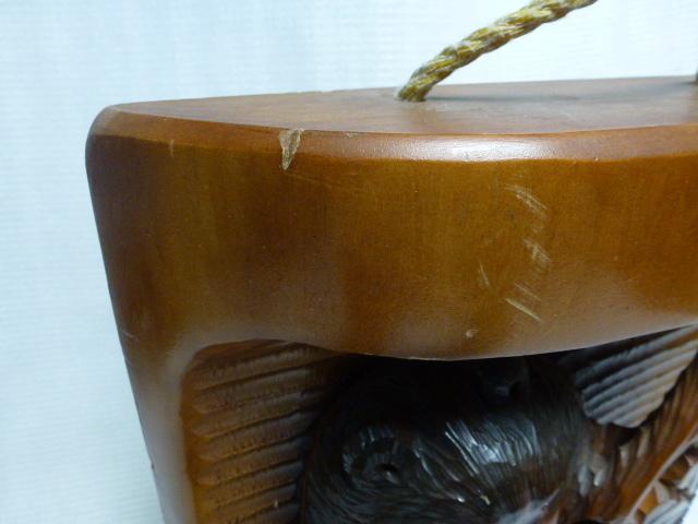 ◆壁掛け 木彫り◆ 葡萄を咥えた熊 置物◆ 北海道 アイヌ 民芸品◆_画像5