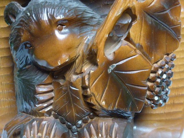 ◆壁掛け 木彫り◆ 葡萄を咥えた熊 置物◆ 北海道 アイヌ 民芸品◆_画像4