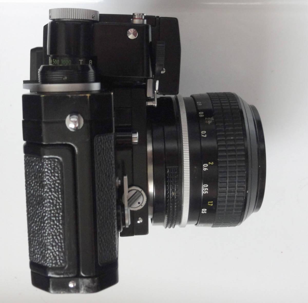 ニコンFブラックボディーフォトミックファインダーFTn付き、標準レンズの外観が大きい50mmF1.4のNikkor付き_画像6