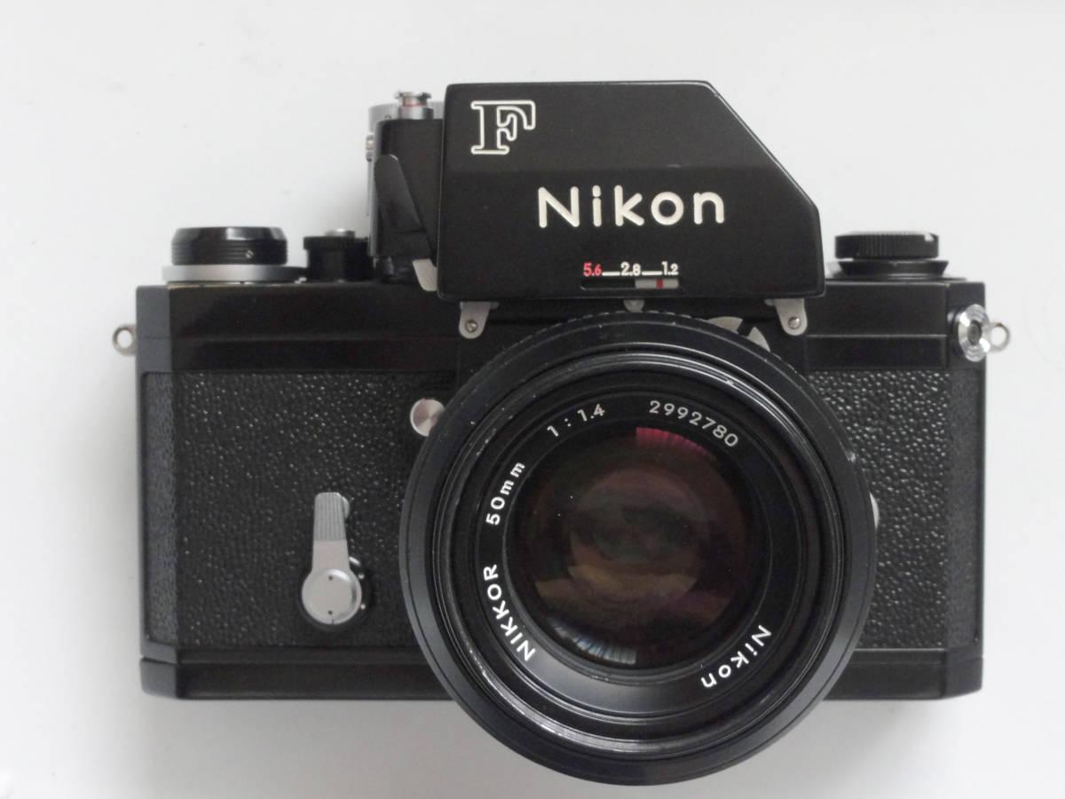 ニコンFブラックボディーフォトミックファインダーFTn付き、標準レンズの外観が大きい50mmF1.4のNikkor付き_画像2