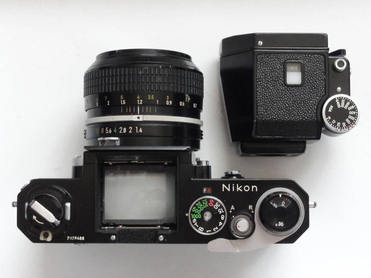 ニコンFブラックボディーフォトミックファインダーFTn付き、標準レンズの外観が大きい50mmF1.4のNikkor付き_画像3